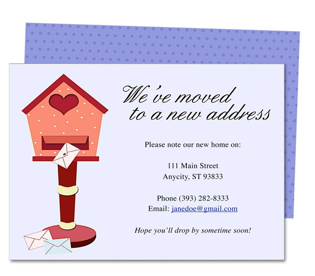 Moving announcements and new address announcement for Moving home cards template