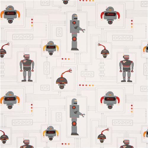 white robot fabric for boys by Timeless Treasures