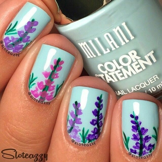 blue pink and purple floral nailart