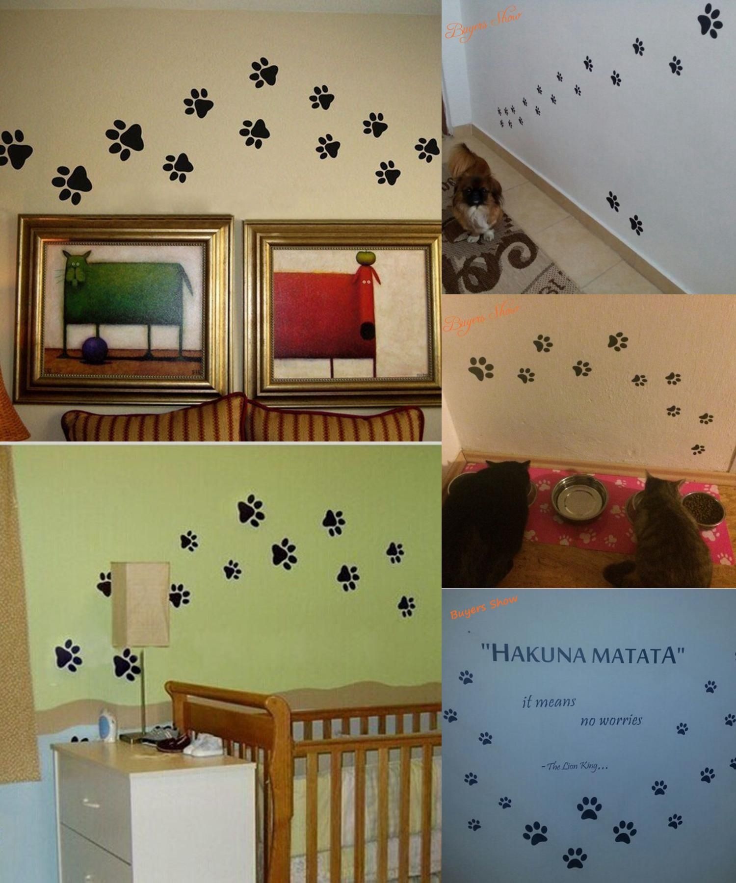 Visit to buy paw print wall stickers 20 walking paw prints wall decal home art decor dog cat food dish room house bowl sticker p2052 advertisement