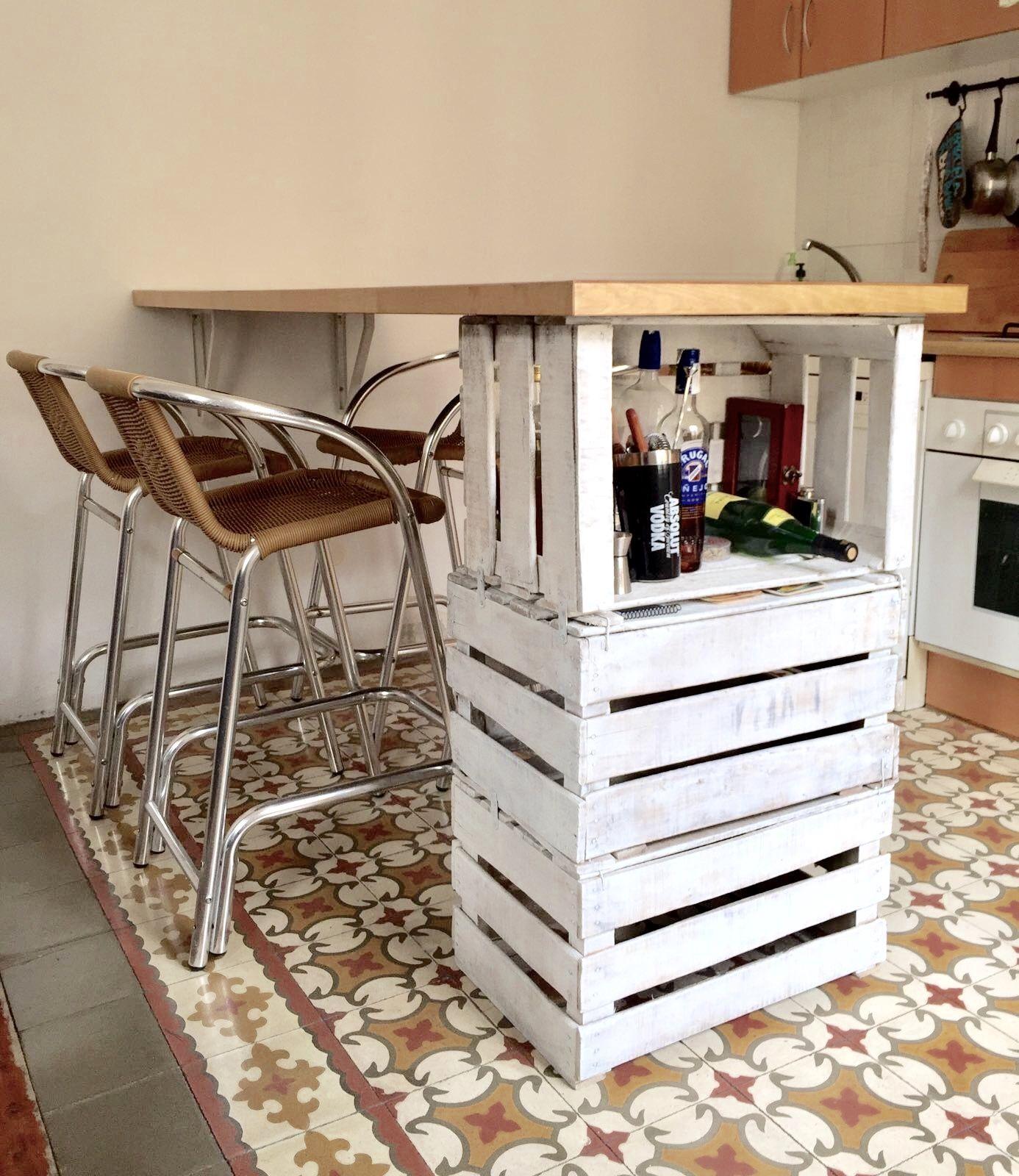 Mesa bar feita com caixas de fruta nossolarideias - Carro de frutas ...