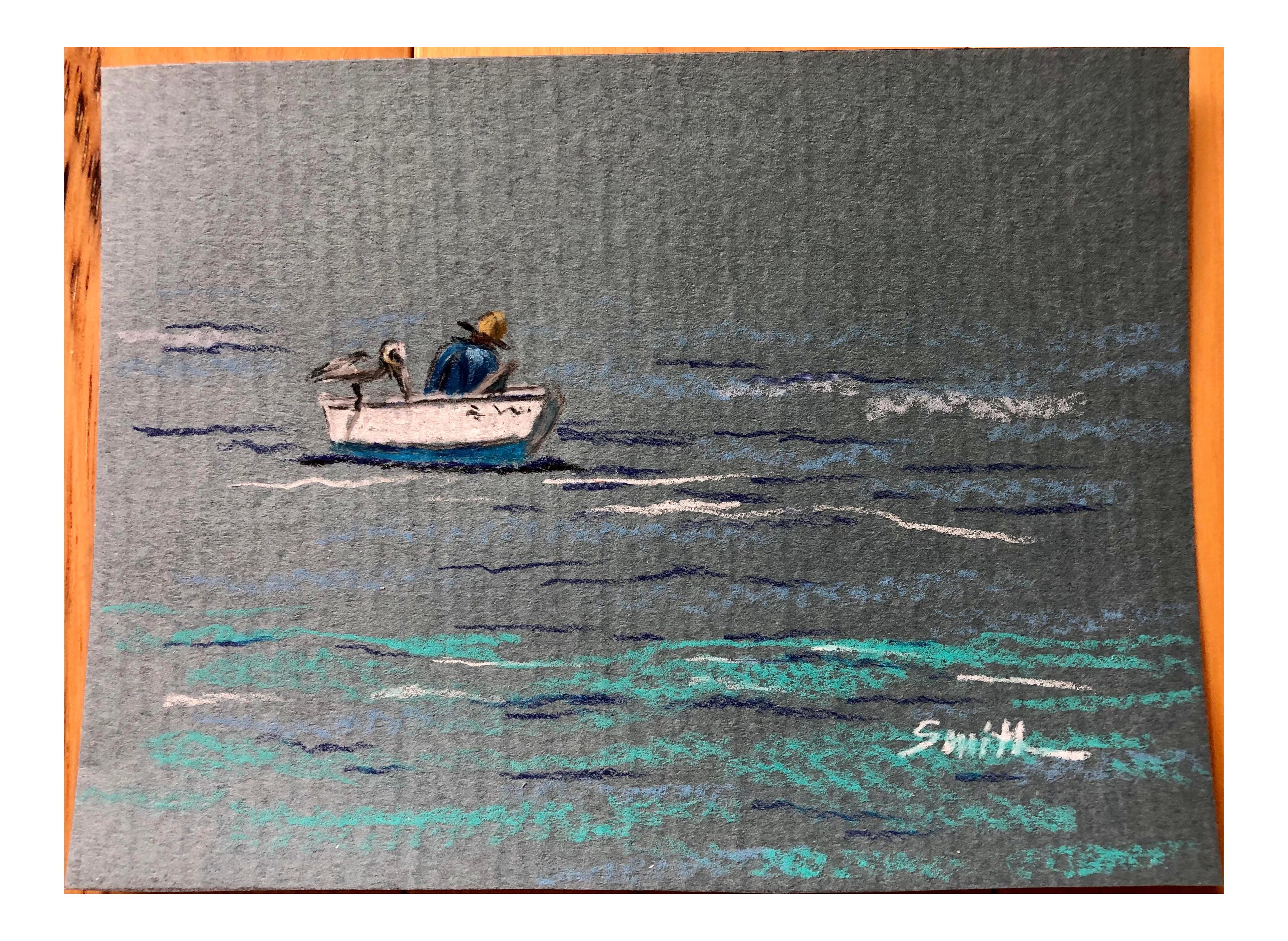 The Fisherman Colored Pencil Drawing On Chairish Com Tropical Fisherman Ocean Boat Fishing Pelican Blue Drawings Colored Pencil Drawing Pencil Drawings