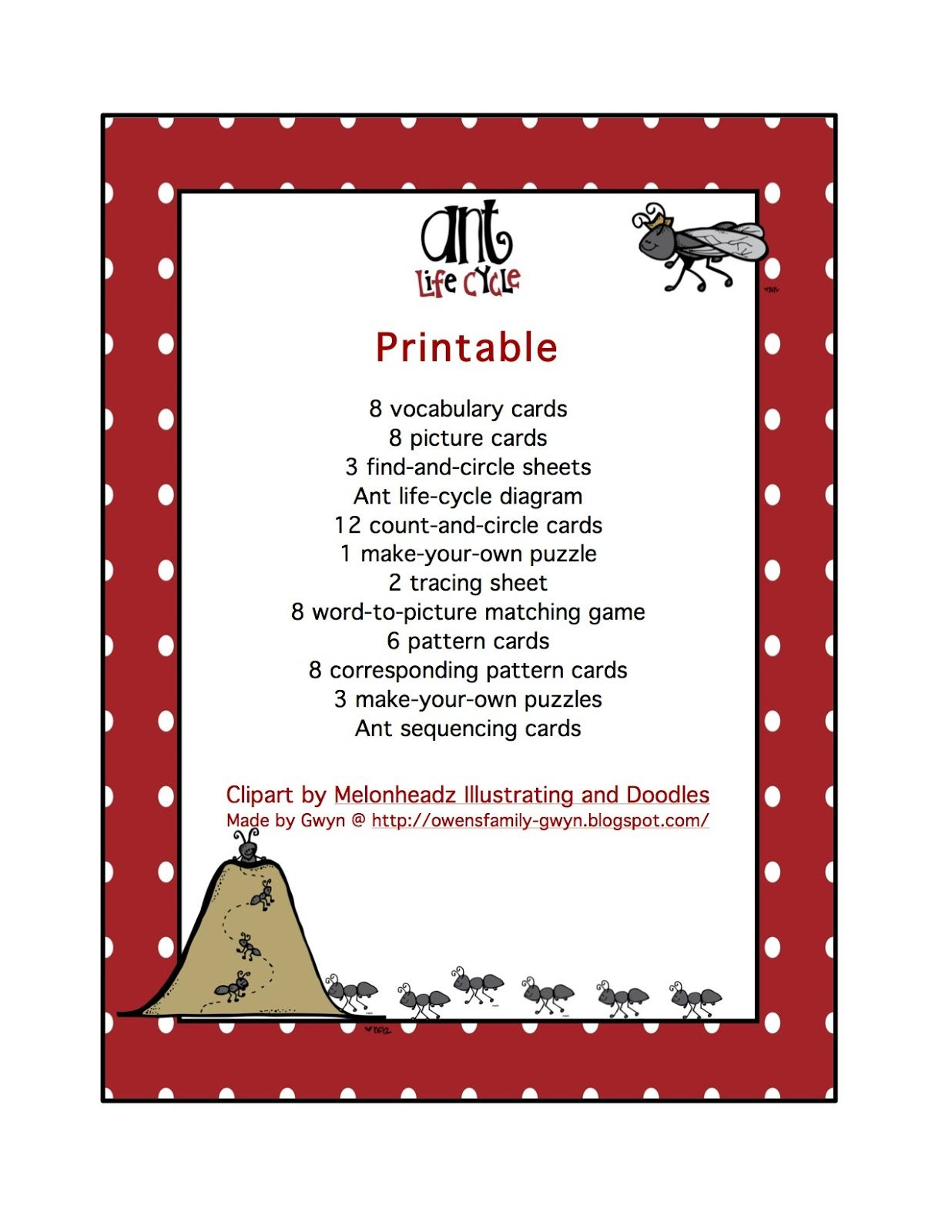 Preschool Printables Ant Life Cycle
