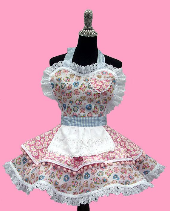 Retro Diner Apron With Pocket   Candy Shop, Baby Doll, Spring, Valentine  Love