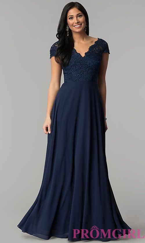 dfeddf2c3c34 Cap-Sleeve Embroidered-Bodice Long Navy Prom Dress | Bridesmaids ...