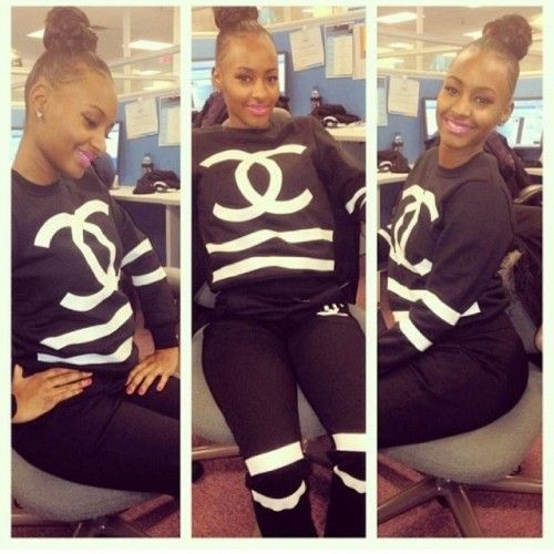 Black Chanel Sweat Suit | chanel sweatsuit | Things to ...