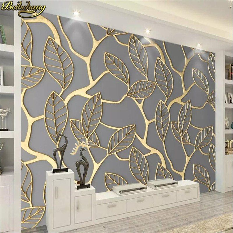 Beibehang Nach Foto Tapete Wandbild Goldene Dreidimensionale Blatter Tv Hintergrund Wand Papers Home Decor 3d Tapete Wandtapete 3d Tapete Tapeten