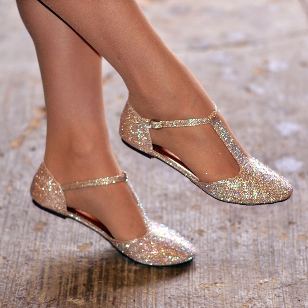 Women Diamante Rhinestone Ballet Shoes Flats T Bar