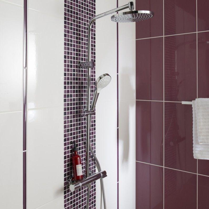 Une Paroi De Douche Avec De La Mosaique Rose Violet Idee Salle
