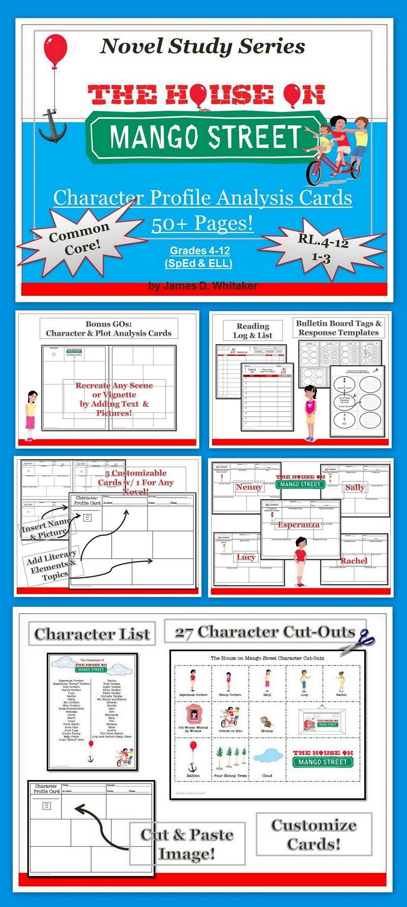 house on mango street character analysis profile cards common core  house on mango street character analysis profile cards common core
