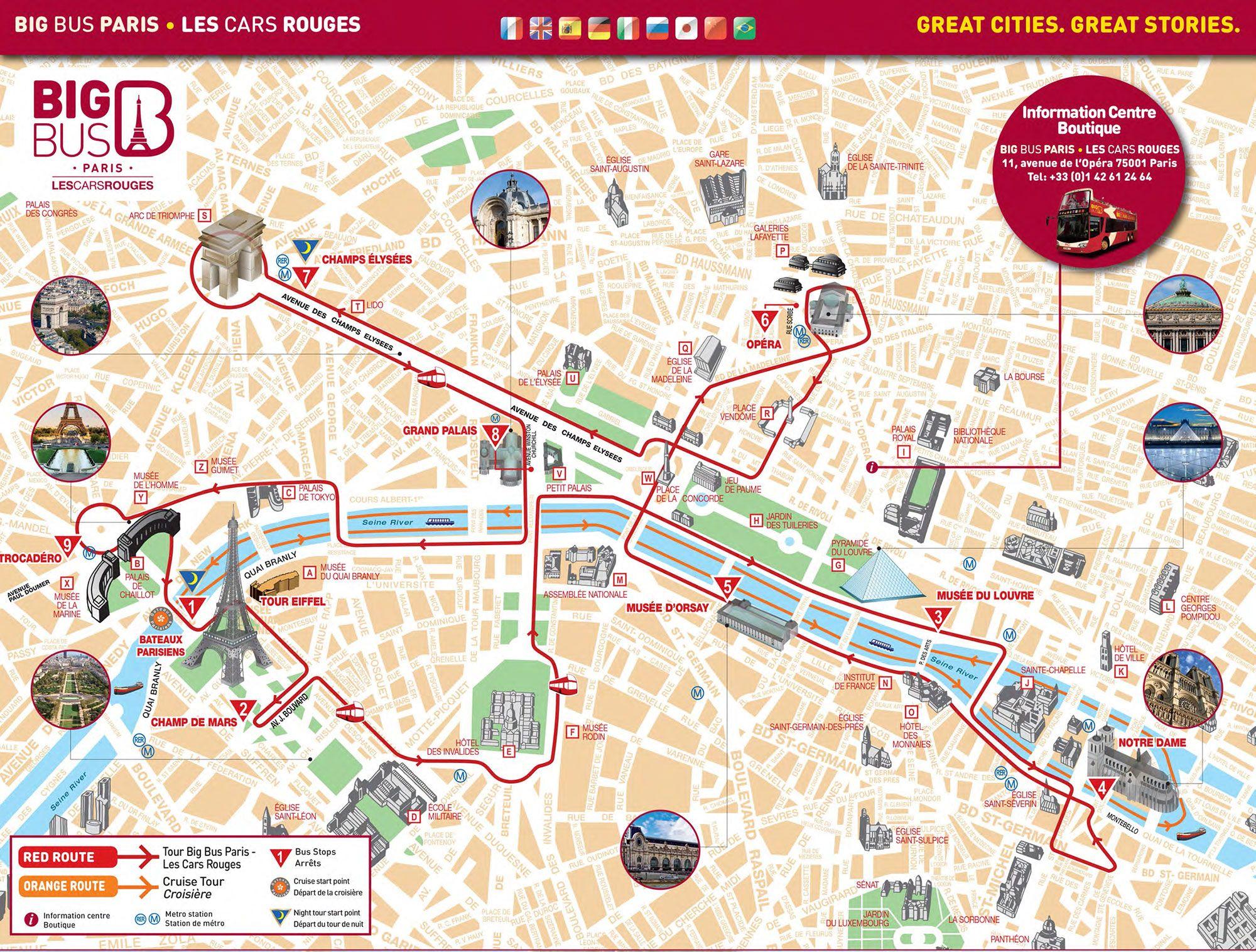 Map Of Paris Hop On Hop Off Bus Tour With Big Bus Les Cars Rouges Paris Tourist Attractions Paris Tourist Paris Sightseeing Map
