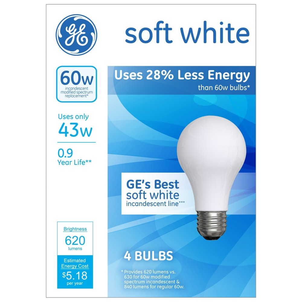 General Electric 60w 4pk Energy Efficient Halogen Light Bulb Soft White In 2020 Light Bulb Halogen Light Bulbs Bulb
