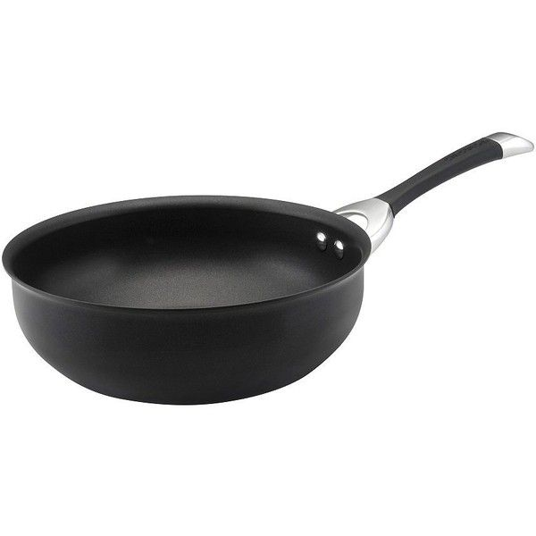 Circulon Symmetry Hard-Anodized Nonstick 4-1/2-Quart Chef Pan ($42) ❤ liked on Polyvore featuring home, kitchen & dining, cookware, black, hard anodized aluminum cookware, hard anodized cookware, aluminum cookware, nonstick aluminum cookware and dishwasher safe nonstick cookware