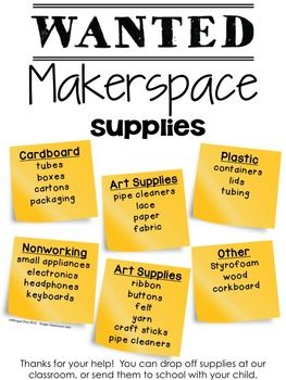 Makerspace Supplies Poster Makerspace Supplies Makerspace Elementary Makerspace