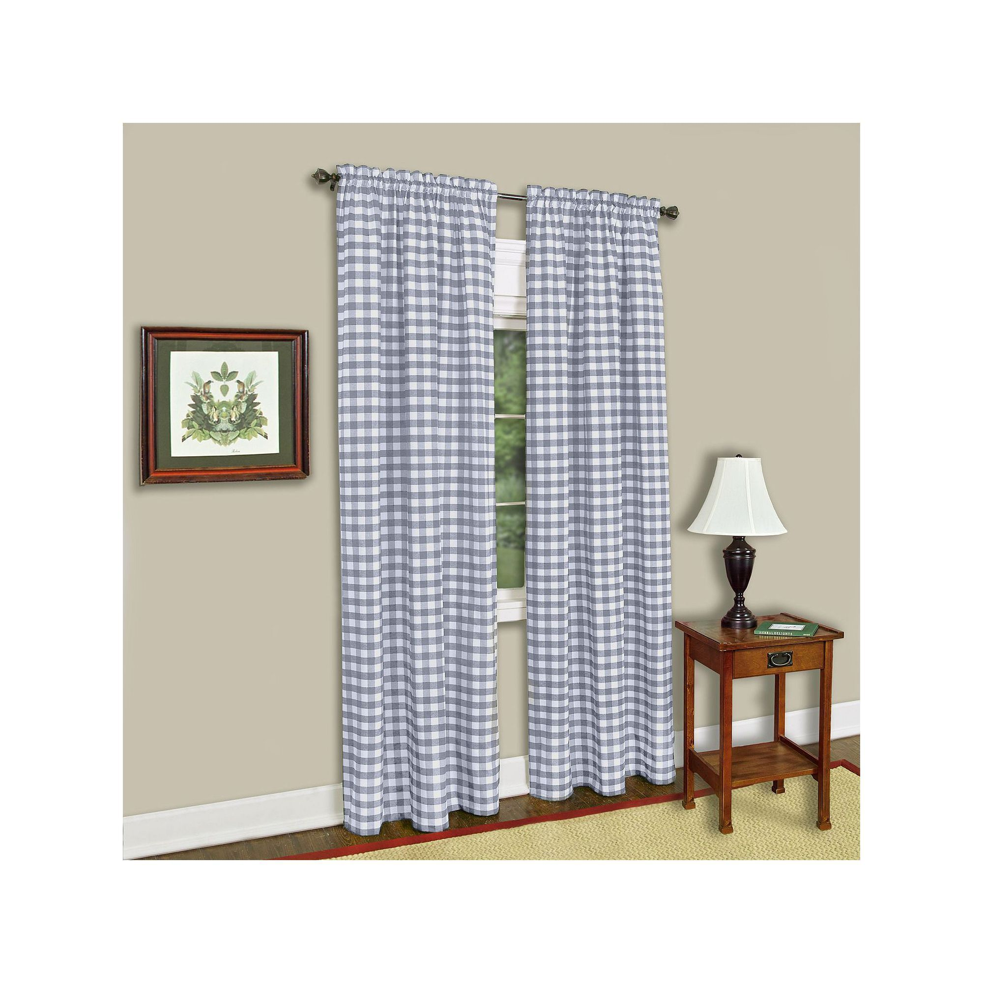Achim Buffalo Check Curtain Grey