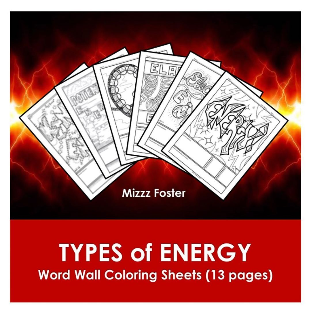 Types Of Energy Word Wall Coloring Sheets Up For Sale