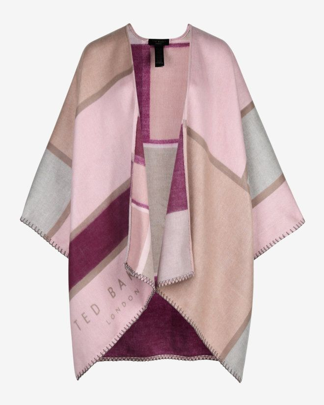6d02be235667 Checked scarf cape - Pink