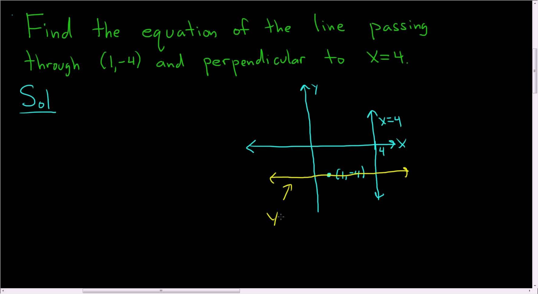 Equation Of Line Passing Through 1 4 And Perpendicular