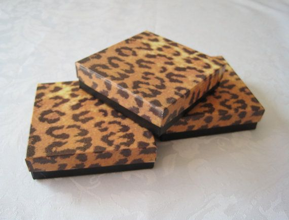 Gift Boxes Cheetah Leopard Animal Print 3.5 x 3.5 x1 Cotton Filled Pack of 10
