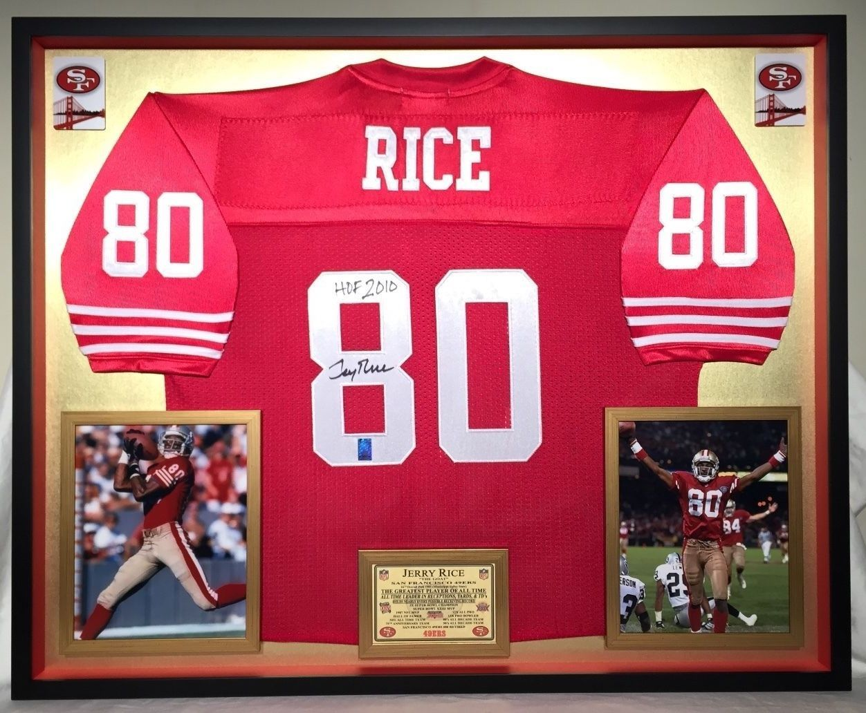 Custom Framed Jerry Rice Autographed San Francisco 49ers Official Mitchell Ness Jersey Official Jerry Rice Hologram Authenticated Framed Jersey Jerry Rice Dream Man Cave