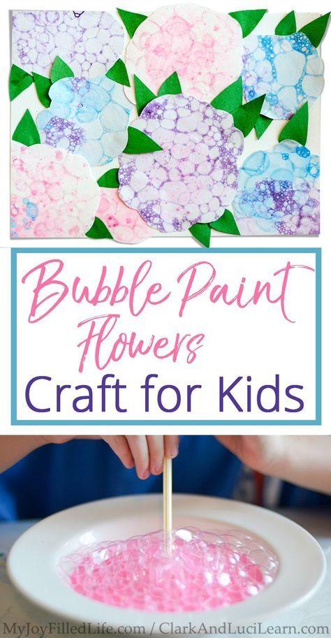 Super Fun Bubble Paint Flower Craft for Kids