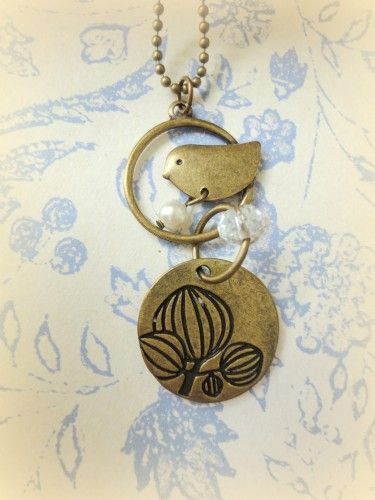 Bird on Tree Necklace Chain Antique Brass Charms Dove Vintage | LittleApples - Jewelry on ArtFire