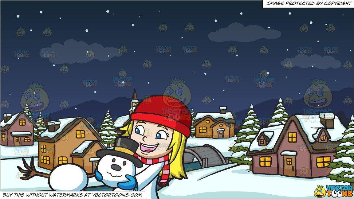 clipart cartoon A Girl Stacking The Head Of A Snowman