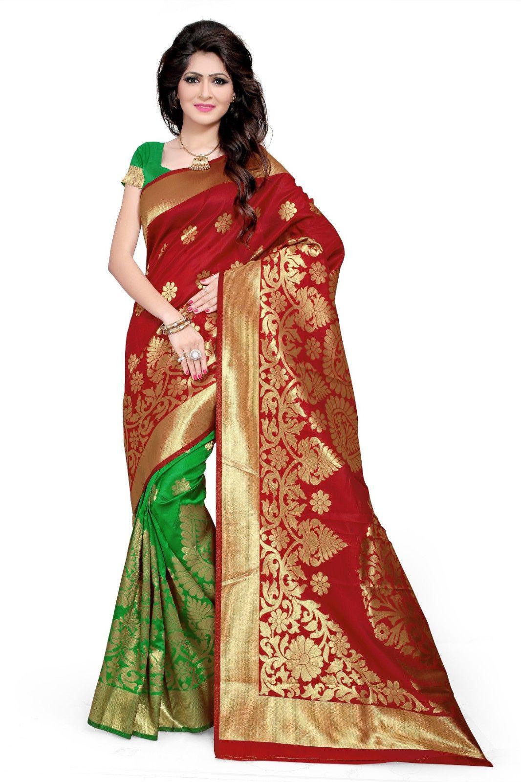 df95d4f3b9f9 Indian Banarsi Silk Saree Designer Pallu Party Wear Sari Bollywood Wedding  Dress
