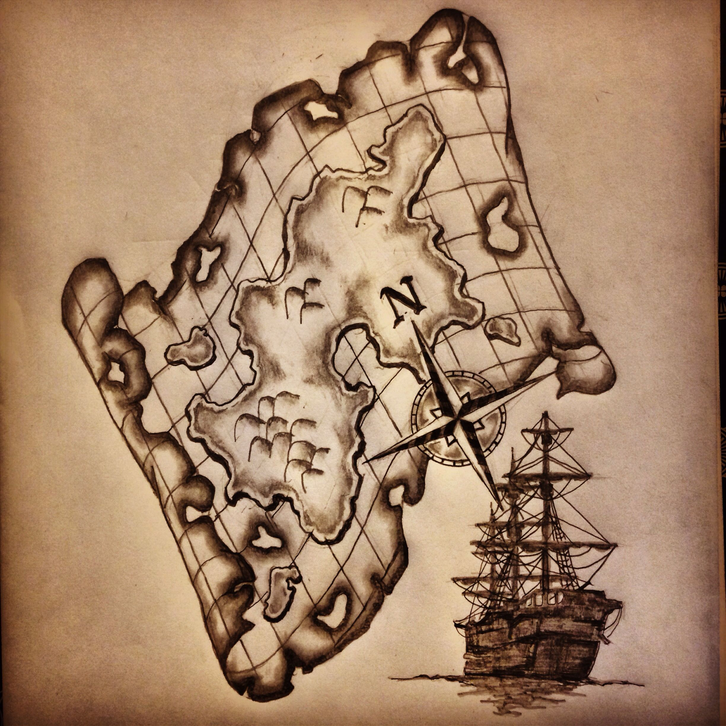 map ship compass tattoo sketch drawing by ranz i like this design a lot i 39 ve wanted a. Black Bedroom Furniture Sets. Home Design Ideas