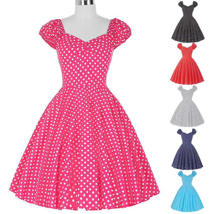Sxl retro polka dot swing s s housewife dress pinup vintage