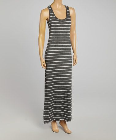 Another great find on #zulily! Charcoal & Heather Gray Stripe Racerback Maxi Dress #zulilyfinds