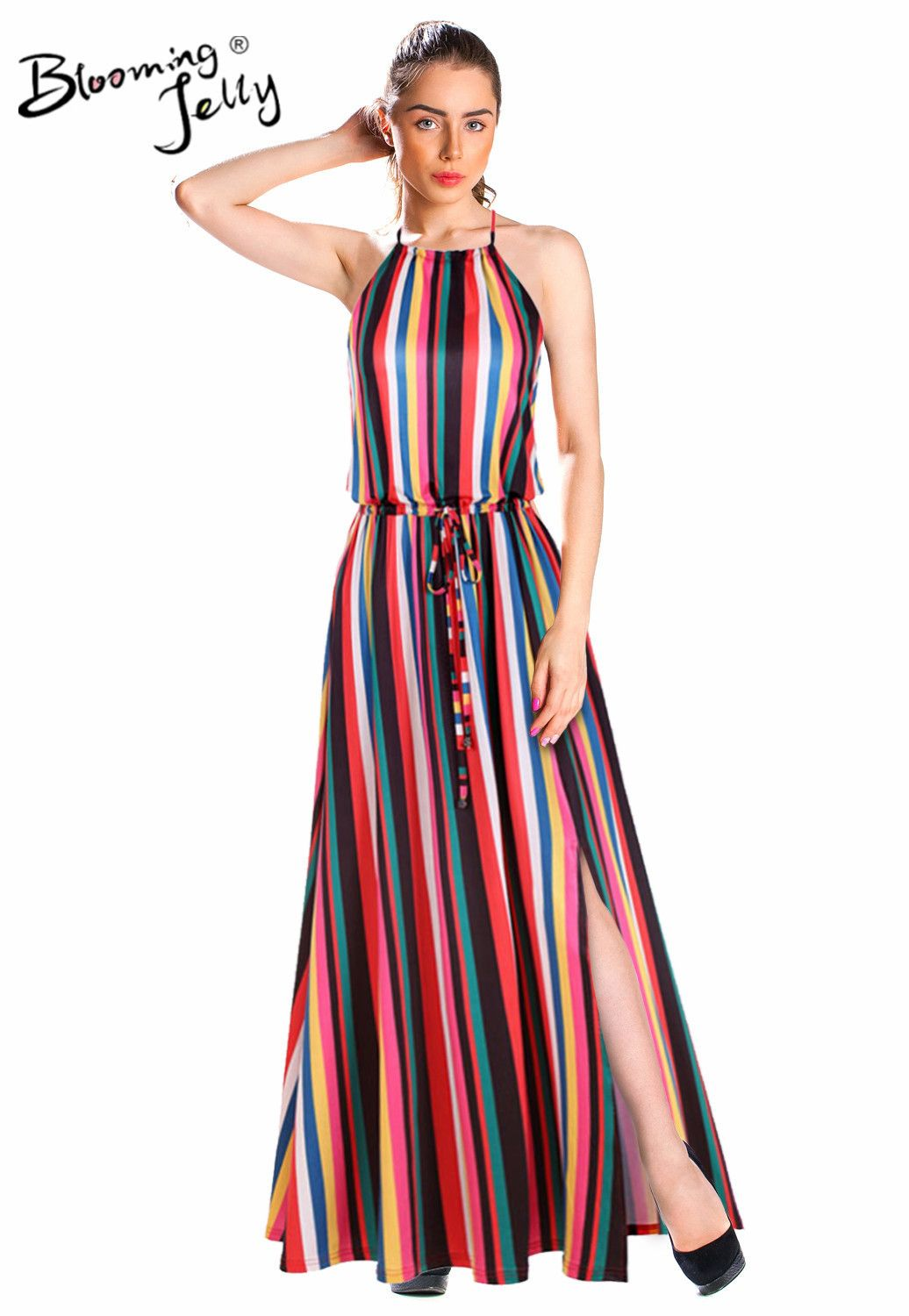 Rainbow Vertical Stripes Print Hater Maxi Dress Bohemian Summer Bohemian Maxi Dress Summer Dress Outfits Dresses [ 1500 x 1036 Pixel ]
