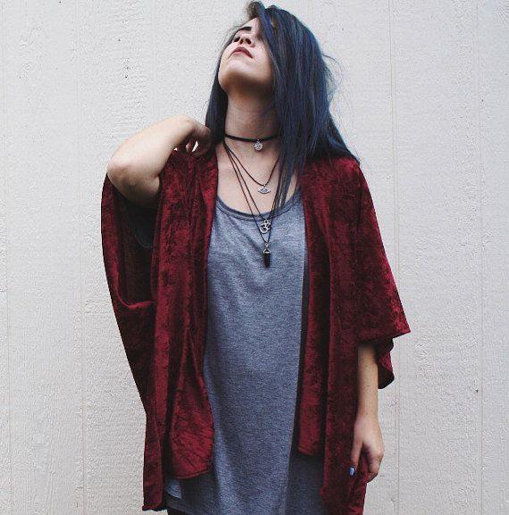 Maroon Crushed Velvet Kimono | Velvet, Etsy and Kimonos