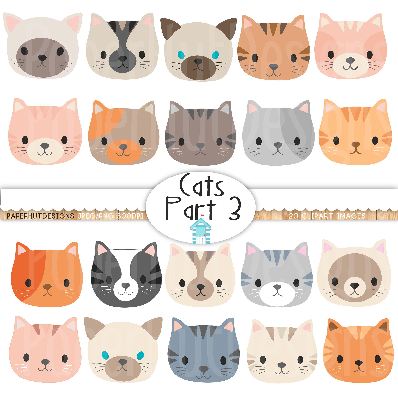 Cat Faces Clipart Cute Kitten Faces Clipart Cat Clip Art Kitties Clipart Cat Faces Cat Digital Cat Images Digital Graphics Kittens Cutest Clip Art Cat Clipart