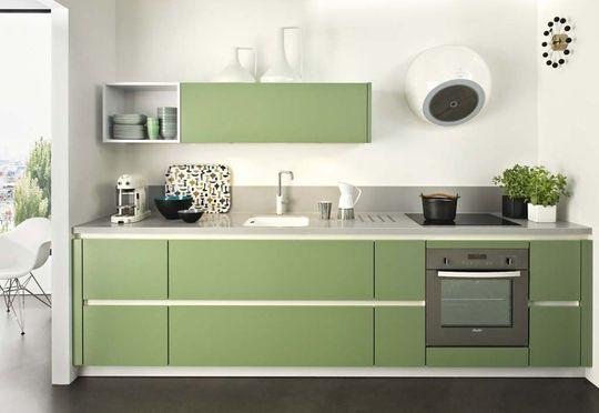 Tendre vert pour cette cuisine moderne et simple - Cuisinistes ...