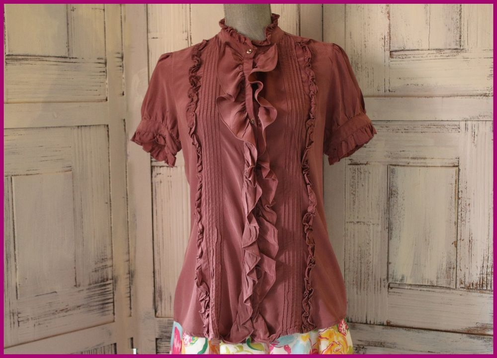 Anthropologie Joie Blouse Size M Button Down Ruffles Shift Wear To Work