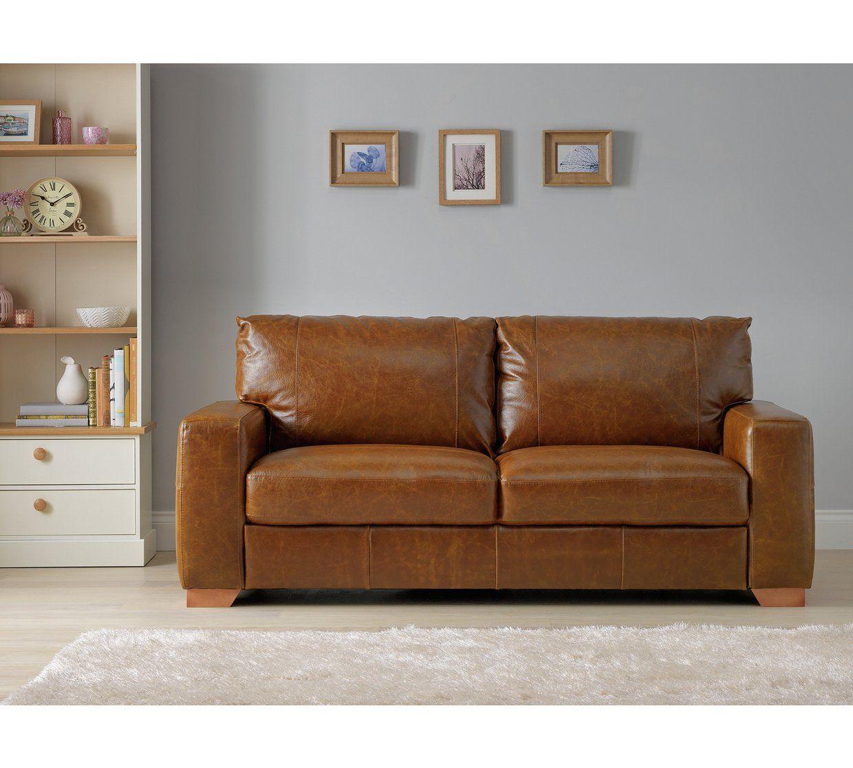 Buy Argos Home Eton 3 Seater Leather Sofa Tan Sofas 3 Seater Leather Sofa Argos Home Leather Sofa