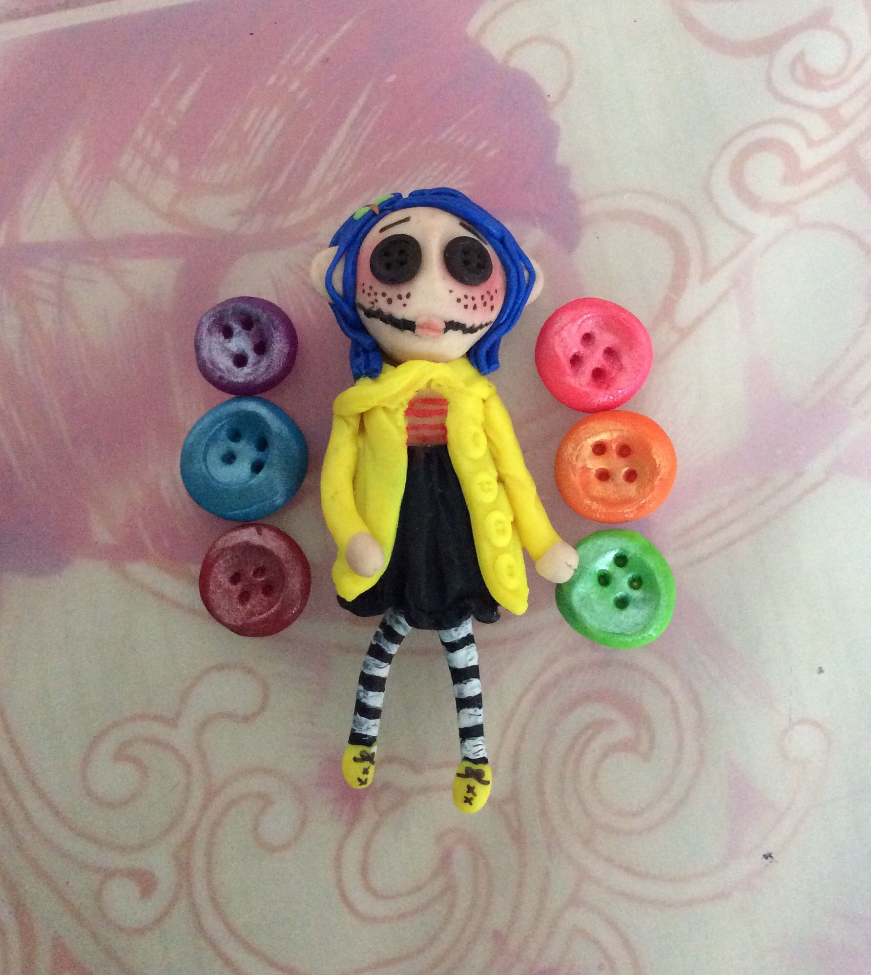 Coraline Polymer Clay Voodoo Doll Polymer Clay Dolls Clay Dolls Voodoo Dolls