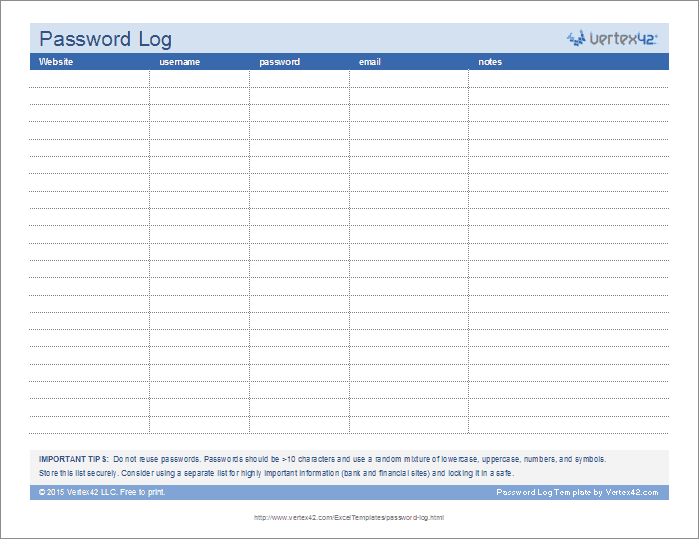 Free Printable Password Log Landscape Pdf From VertexCom