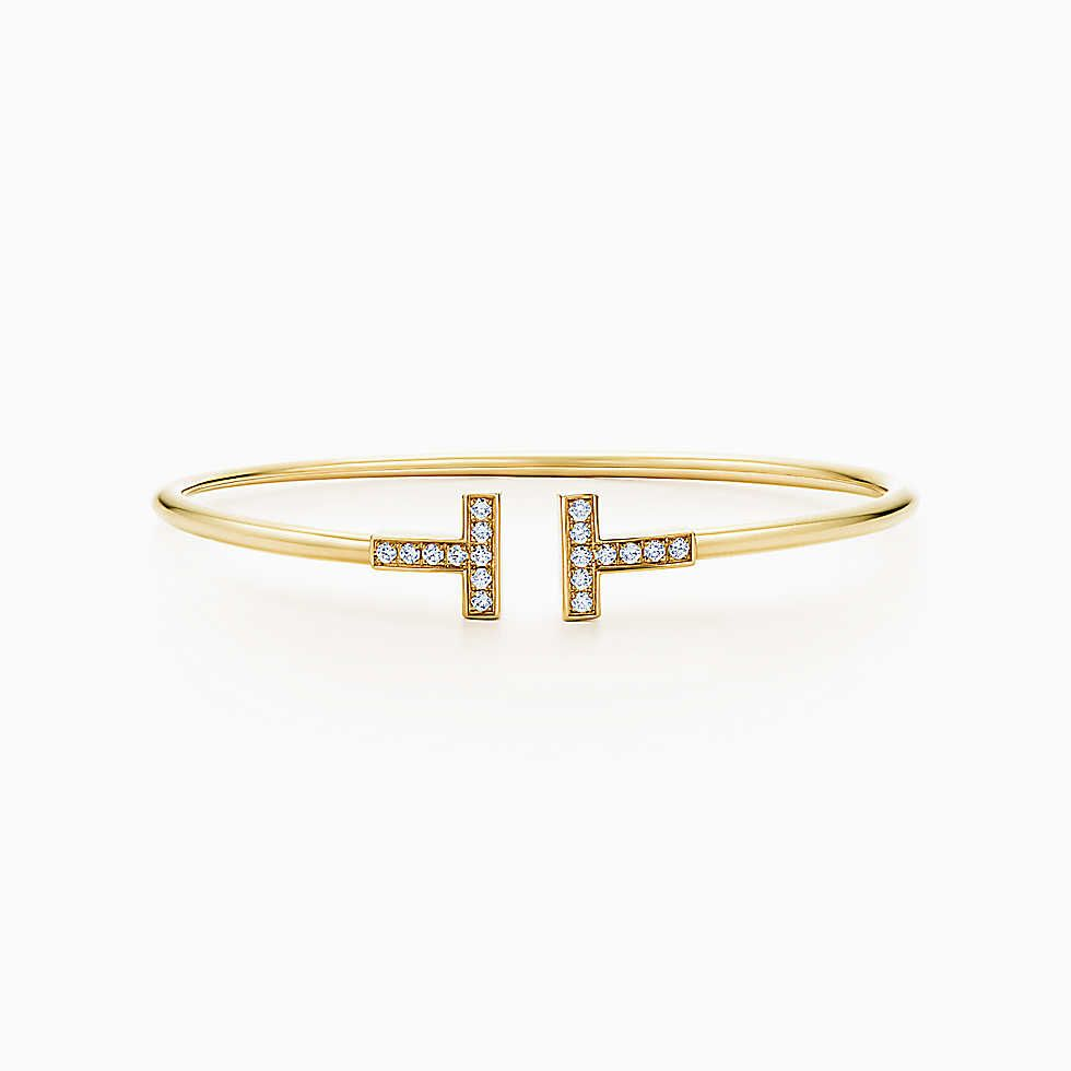 Tiffany t wire bracelet in k gold with diamonds medium my