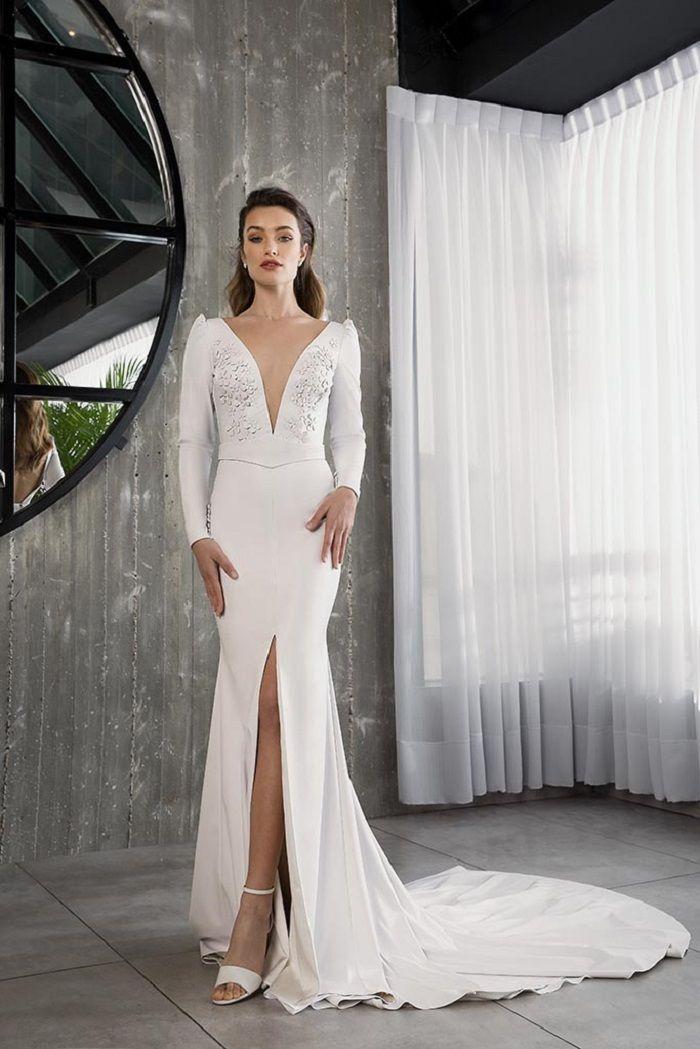Glamour Bridal Collection by Riki Dalal long sleeves heavy embellishment split front mermaid wedding dress #weddingdress #weddinggown
