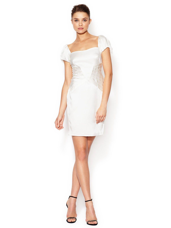 Silk Pleated Puff Sleeve Dress By Z Spoke Zac Posen At Gilt Short Wedding Dress Dresses Gown Inspiration [ 1440 x 1080 Pixel ]