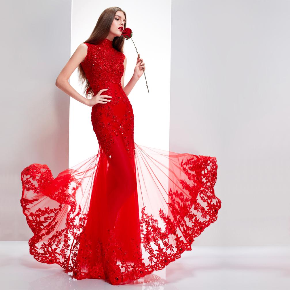 Mermaid Word Shoulder Red Lace Trailing Traditional Chinese Cheongsam Wedding Gown Elegant Luxury Mermaid Evening Dresses Red Mermaid Dress Red Wedding Dresses