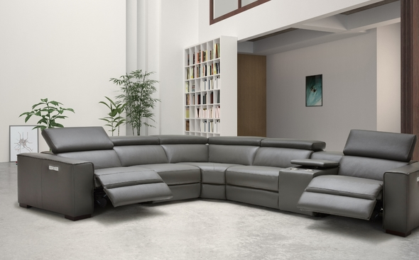 J&M Picasso Gray Full Italian Leather Recliner Sectional In ...