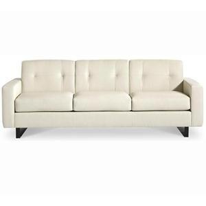 Picture Of Cream Colored Contemporary Leather Sofa