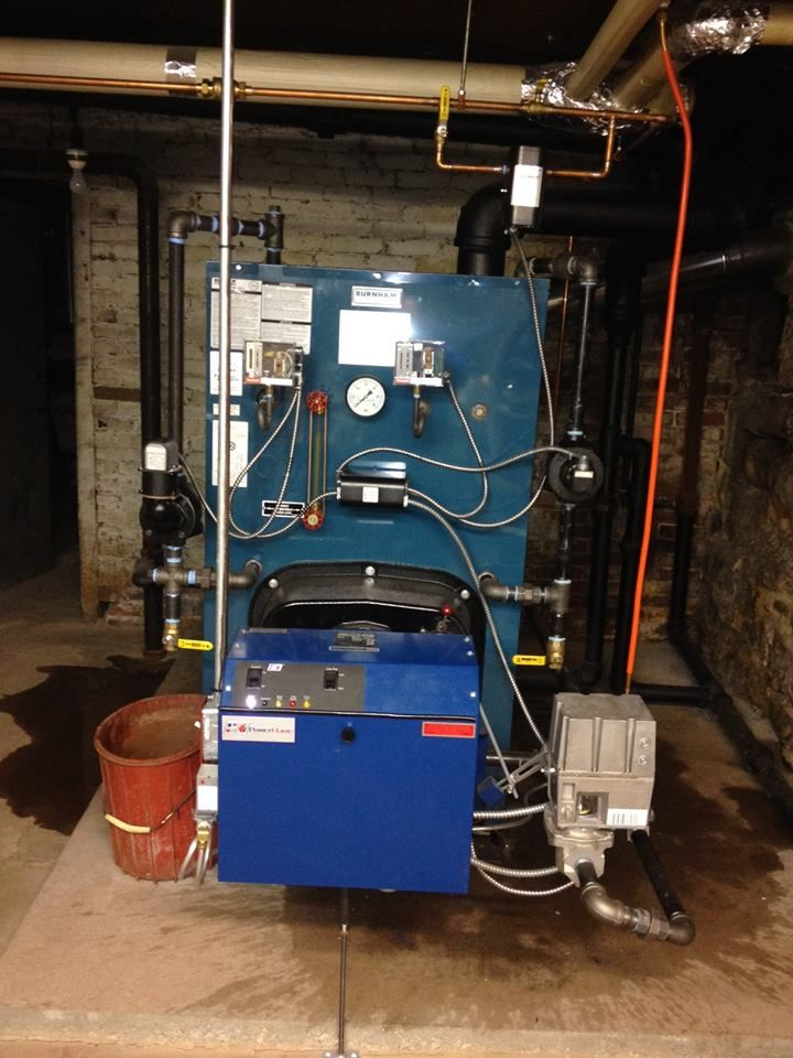 This is a Burnham Forced Hot Water Steam boiler, with