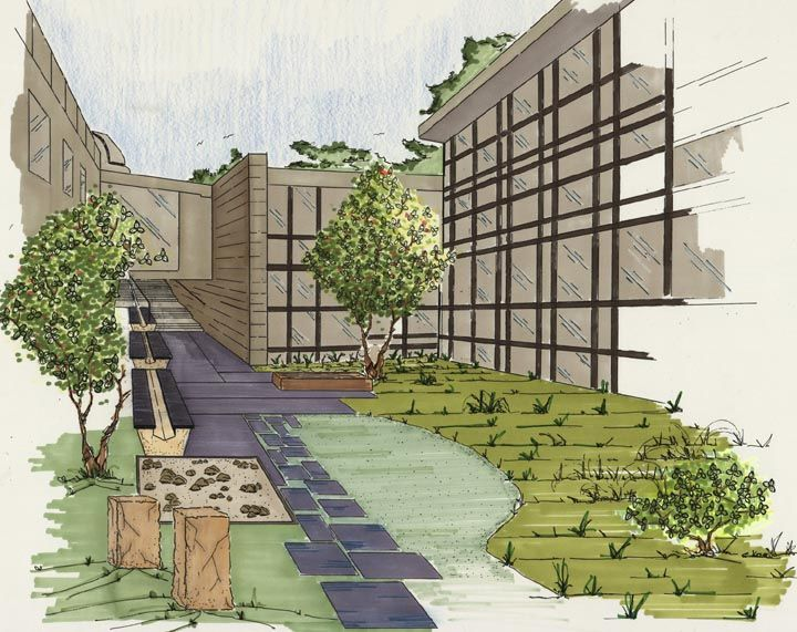 Crum Woods Courtyard Landscaping Plan Courtyard Landscaping