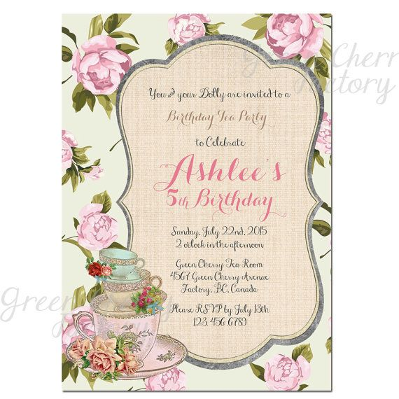 Floral girl birthday tea party invitation shabby chic birthday floral girl birthday tea party invitation shabby chic birthday girl invite high tea birthday kids stopboris Images