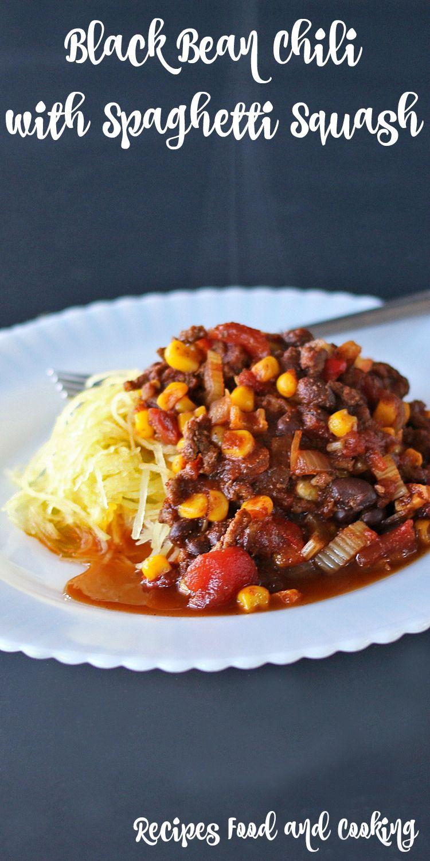 Black Bean Chili with Spaghetti Squash #SundaySupper #lowcarb #healthy