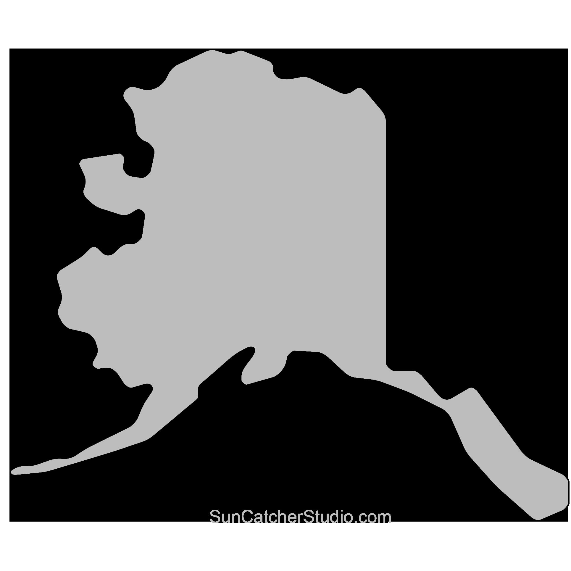 Alaska Map Outline Printable State Shape Stencil Pattern Alaska Map Map Crafts Scrapbook Printables Free